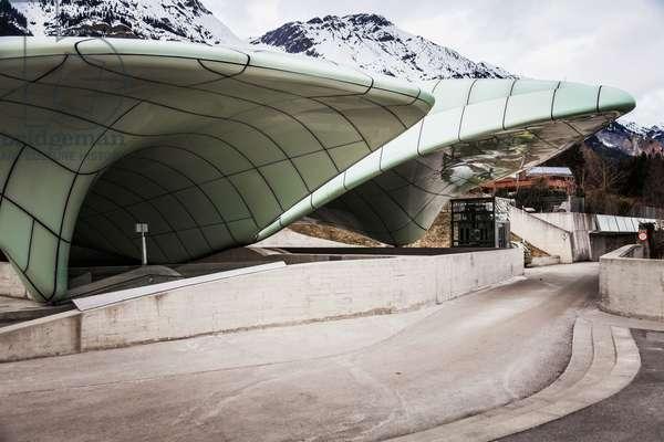 Station of Innsbrucker Nordkettenbahnen by architect Zaha Hadid, Nordkette, Innsbruck, Austria (photo)