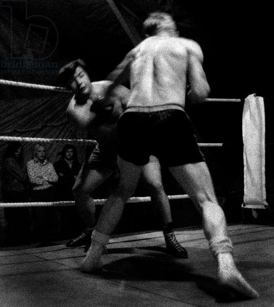 Fairground Boxing 3, 1972 (b/w photo)