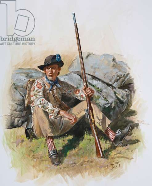 A soldier of the Delaware Flying Camp during the New York Campaign of 1776, 2017 (w/c & gouache on paper)