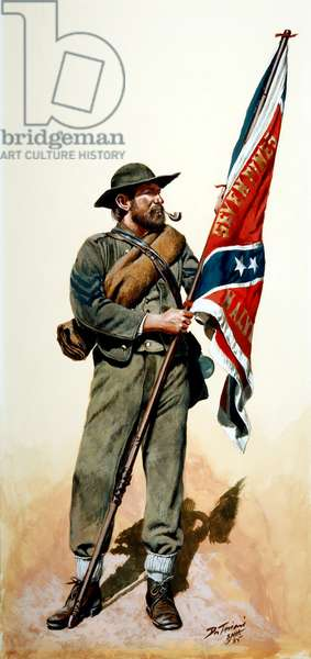 Confederate Army, Confederate color bearer of the 11th Mississippi 1863, 1985 (w/c & gouache on paper)