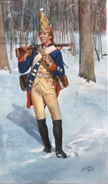 Private of the Hessian Grenadier Regiment Rall in 1776, 2017 (w/c & gouache on paper)