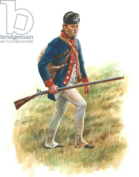 A soldier of the rifle company of the 5th South Carolina Regiment of the Continental Army, 2017 (w/c & gouache on paper)