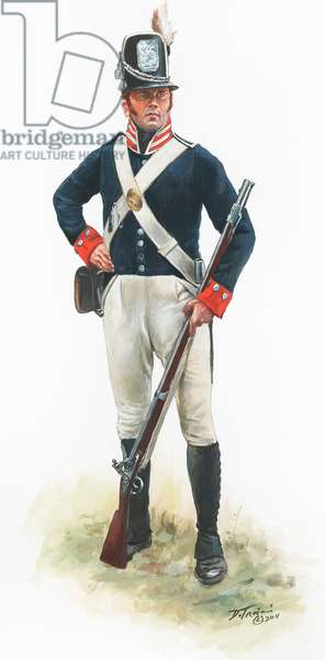 War of 1812, 32nd U.S. Infantry private in 1812, 2011 (w/c & gouache on paper)