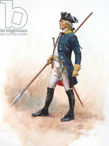 Officer of the Brunswick Regiment Prinz Frederich in 1777, 2018 (w/c & gouache on paper)