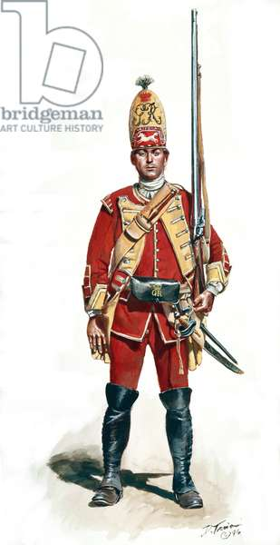British Grenadier of the 40th Regiment of Foot 1759, 1996 (w/c & gouache on paper)