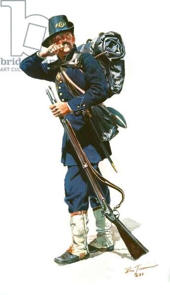 2nd Wisconsin Volunteers, Iron Brigade 1862, 1987 (w/c & gouache on paper)