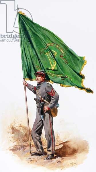 Confederate Army, 10th Tennessee Color Bearer - Irish Legion, 2010 (w/c & gouache on paper)