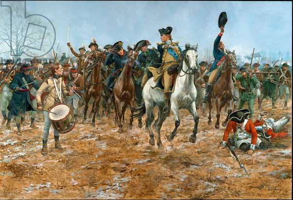 General George Washington at the Battle of Princeton, N.J. in 1777, 2007 (oil on canvas)