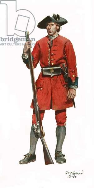 Soldier of the Virginia Regiment 1754, 1993 (w/c & gouache on paper)