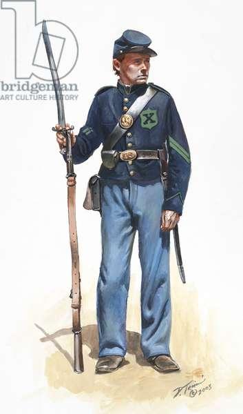 56th New York Volunteers, Rifle Company, 10th Legion 1862, 2005 (w/c & gouache on paper)