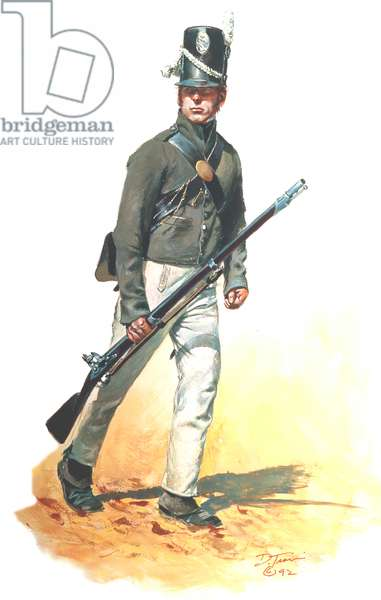 US Infantry US Regular-War of 1812, Private Scott's Brigade 9th, 11th & 25th, 1814, 1992 (w/c & gouache on paper)