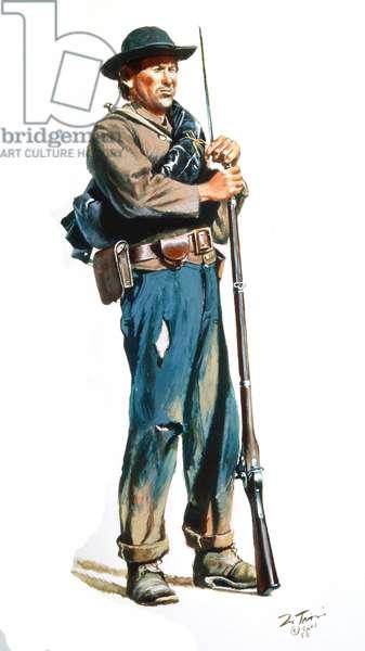 Confederate Infantryman 1863-1865, 1986 (w/c & gouache on paper)