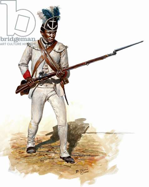 Soldier of the Rhode Island Regiment in 1781, 2008 (w/c & gouache on paper)