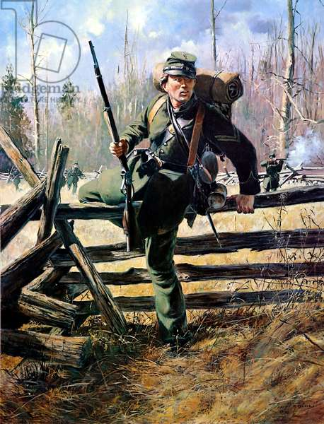 Union Army, Company D, 2nd Regiment Of United States Sharpshooters, 1986 (oil on canvas)