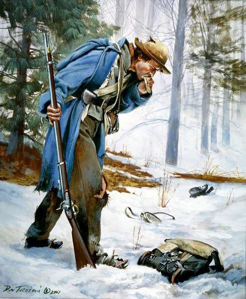Confederate soldier on the retreat from Nashville, 1864, 2001 (w/c & gouache on paper)
