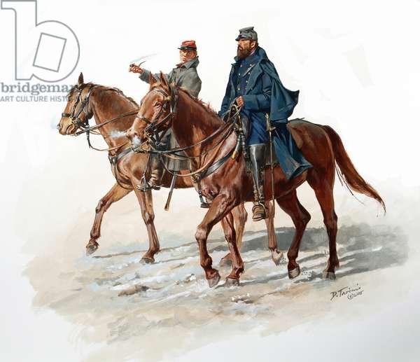 Major General Thomas J.(Stonewall) Jackson and Aide Sandie Pendleton, 2015 (w/c & gouache on paper)