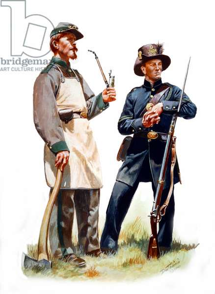 8th (1st German Rifles) & 20th (United Turner Rifles) New York Volunteers 1861, 2000 (w/c & gouache on paper)