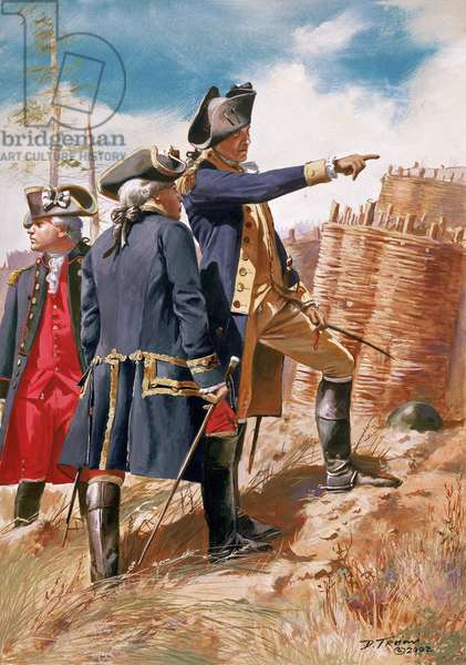 General George Washington and comte de Rochambeau at the siege of Yorktown in 1781, 2002 (oil on canvas)