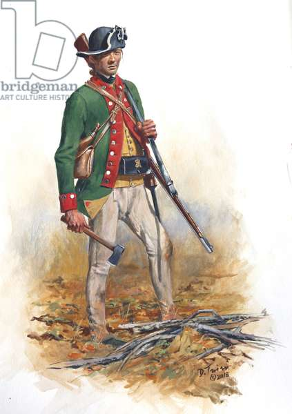 American Revolution; Soldier of the King's Royal Regiment of New York, 2018 (w/c & gouache on paper)