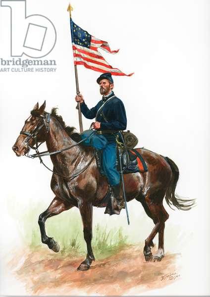 Union Cavalryman with Company Guidon 1864, 2014 (w/c & gouache on paper)