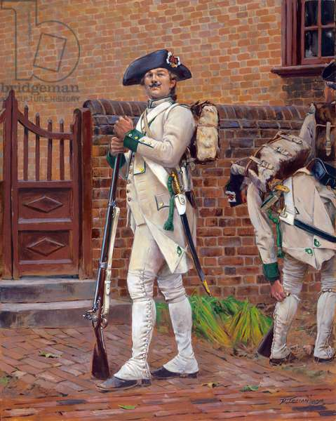 French Chasseur of the Saintonge Regiment, Yorktown, Virginia in 1781, 2011 (w/c & gouache on paper)