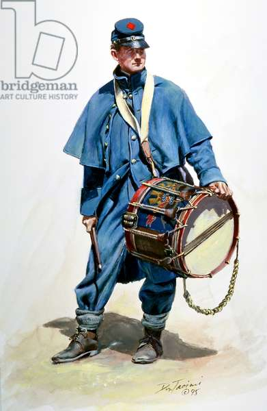 Union Army drummer in overcoat, 1995 (w/c & gouache on paper)