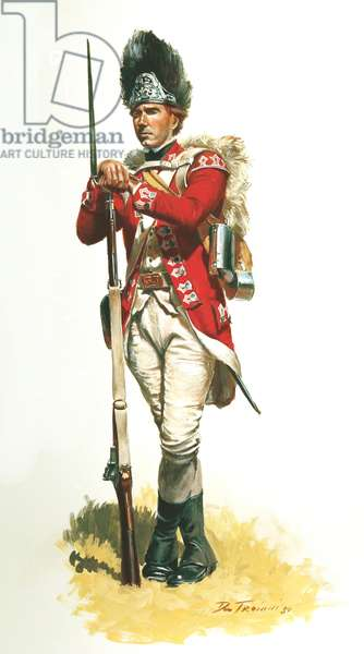 British Army, 33rd Regiment of Foot, Grenadier Company 1776, 1989 (w/c & gouache on paper)