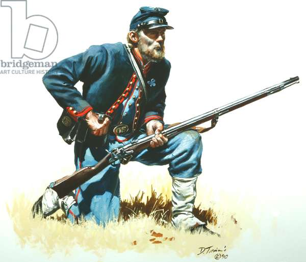 72nd Pennsylvania Volunteers, Baxter Zouaves, at Gettysburg in 1863, 1990 (w/c & gouache on paper)