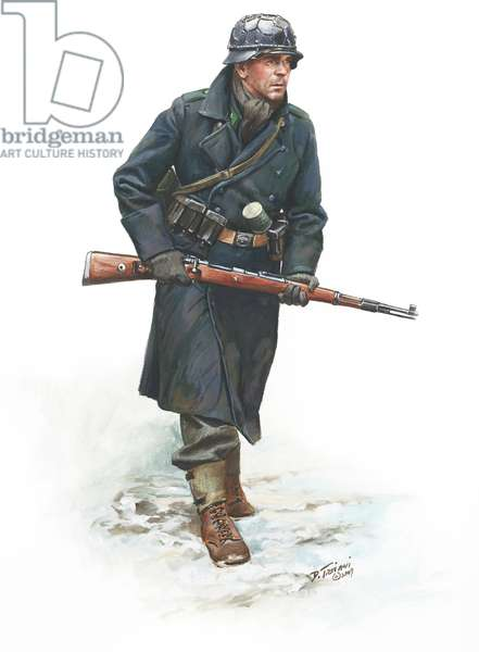 WW2, Nazi Germany, Luftwaffe Jager 18th Volksgrenadier Division, Ardennes 1944, 2009 (w/c & gouache on paper)