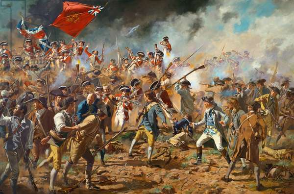 Battle of Bunker Hill 1775 -The British Marines Pour Over the Earthworks with Dr. Warren in the Foreground, 2009 (oil on canvas)