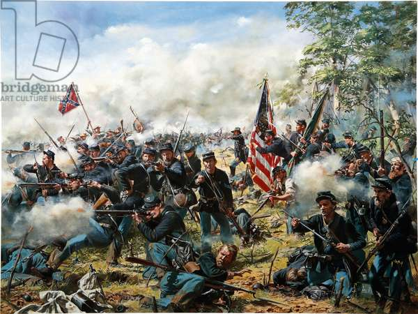 69th Pennsylvania Irish Regiment Hold The Line And Defend Their Colors During Pickett's Charge At Gettysburg, Pa. 1863, 1997 (oil on canvas)
