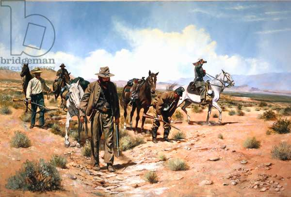 Confederates scouting in the Southwest, 1982 (w/c & gouache on paper)