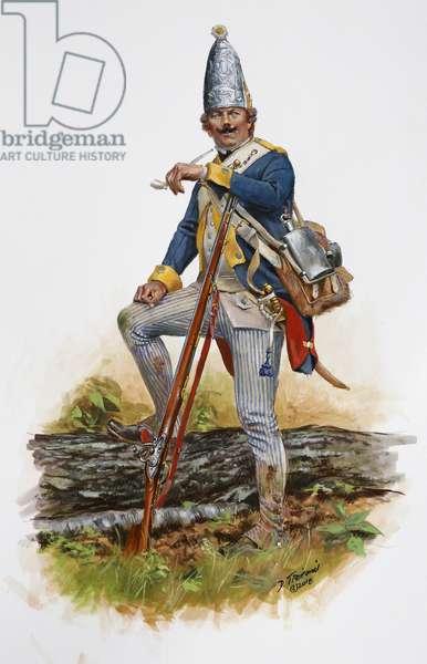 American Revolution; Grenadier of the Brunswick Regiment Riedesel in 1777, 2018 (w/c & gouache on paper)