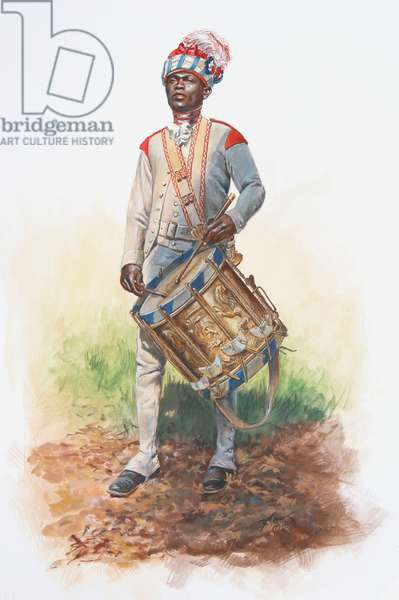Drummer of the Hesse Hanau Artillery in summer parade dress in Canada in 1781, 2018 (w/c & gouache on paper)