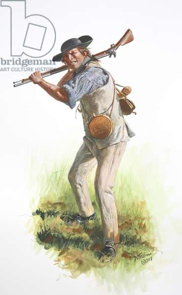 American Revolution, A Bennington Militiaman in 1777 , 2018 (w/c & gouache on paper)