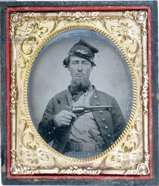 Tipsy looking Union Soldier with revolver