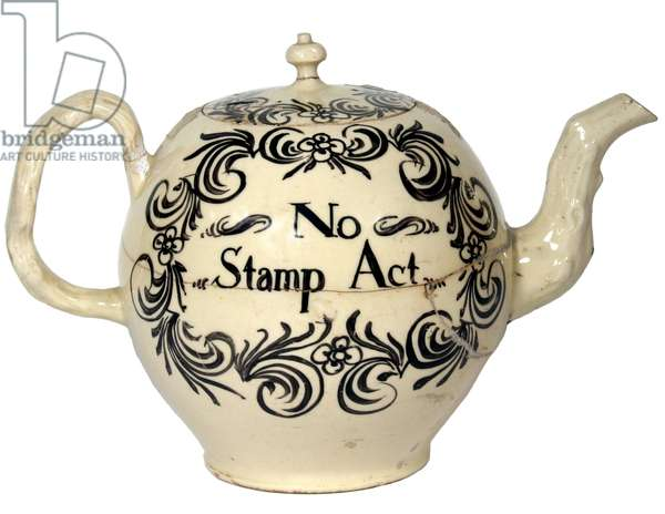 Colonial teapot relating to the British Stamp Act of 1765