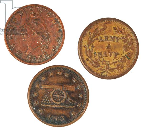 Three 1863 Army- Navy copper tokens
