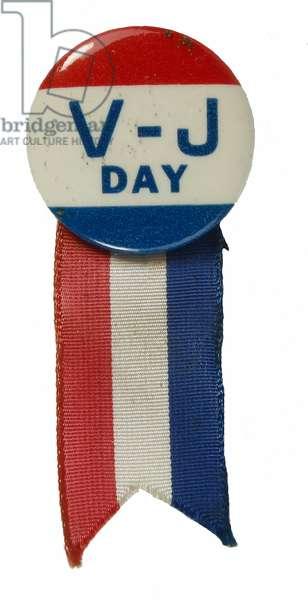 VJ Day badge, 1945 (enamel & ribbon)