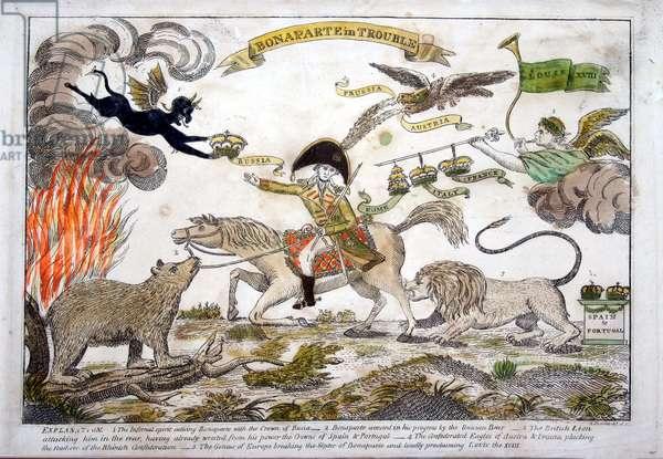 Cartoon of Napoleon in trouble by Amos Doolittle