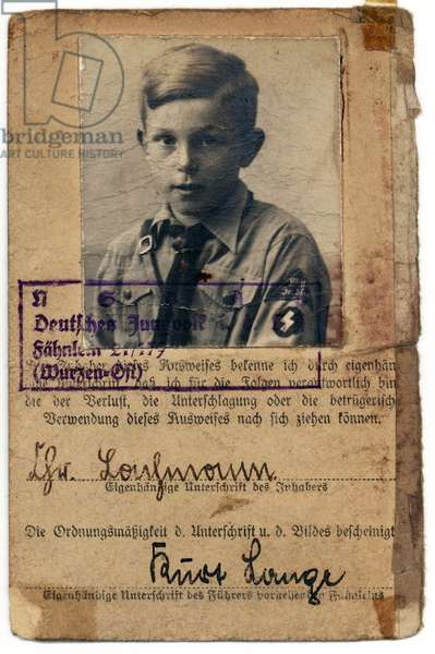 Nazi Germany, Page From Hitler Youth Identity Book