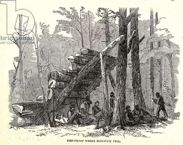 Fire-proof where General Sedgwick fell, battle of Spotsylvania, 1864