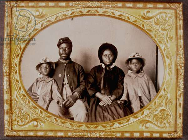 United States Civil War-Image of African American Union soldier with wife & children.