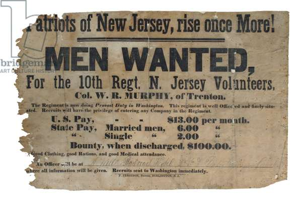 United States Civil War-Recruiting poster , 10th New Jersey Regiment