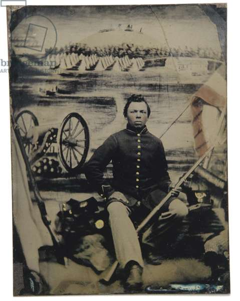 African-American soldier with patriotic painted backdrop