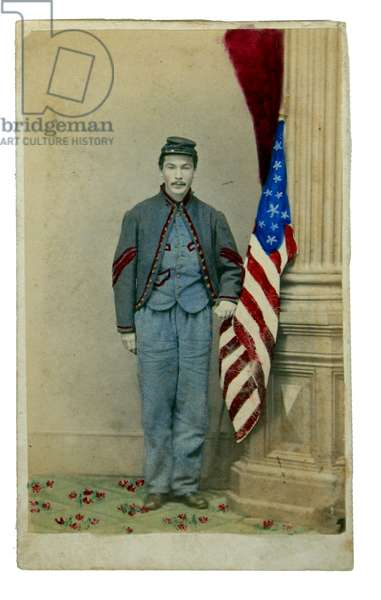 A Baxter Fire Zouave , 72nd Pennsylvania Volunteers with flag