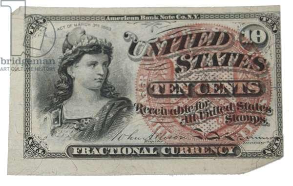 American Civil War, 1863 10 cent shinplaster
