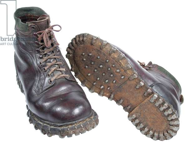 Nazi Germany, German Army mountain boots with hobnails and cleats