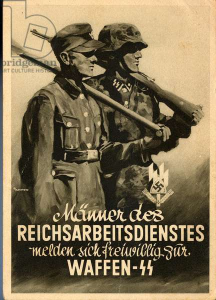 Nazi Germany , Recruiting Card from the Labor Corps to the Waffen SS
