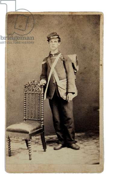 Union volunteer leaning on chair